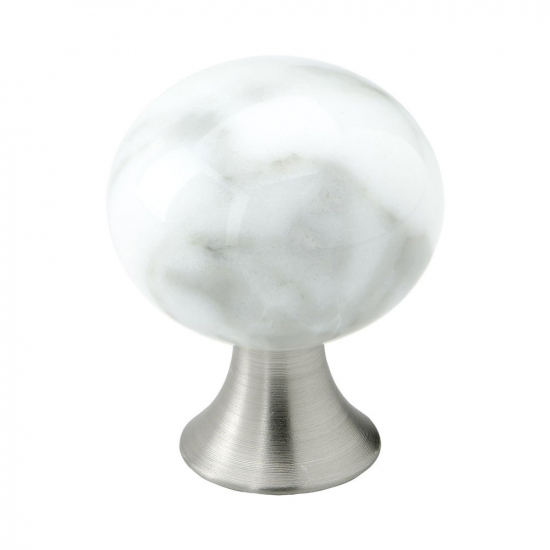 Cabinet Knob Bead Straight - Carrara Marble in the group Cabinet Knobs / Other Colours at BeslagOnline (304060-11)