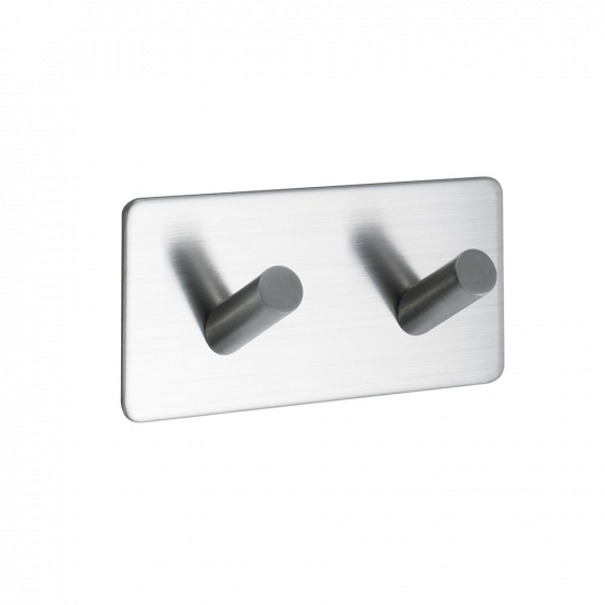 Base 200 2-Hook - Brushed Stainless Steel Finish in the group Bathroom Accessories / All Bathroom Accessories / Self Adhesive Hooks  at BeslagOnline (60509-21)