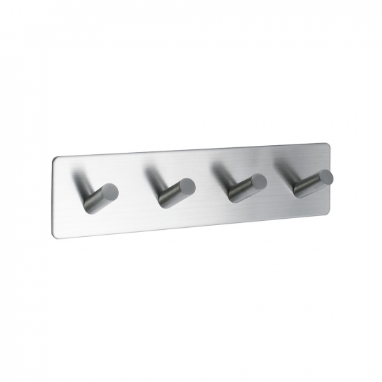 Base 200 4-Hook - Brushed Stainless Steel finish in the group Bathroom Accessories / All Bathroom Accessories / Self Adhesive Hooks  at BeslagOnline (60512-21)