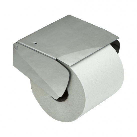 Solid Paper Holder With Lid - Brushed Stainless Steel Finish in the group Bathroom Accessories / All Bathroom Accessories / Toilet Roll Holder at BeslagOnline (620027)