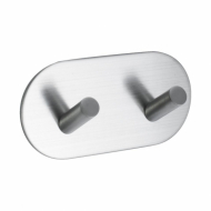 Base 100 2-Hook - Brushed Stainless Steel