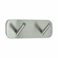 Solid 2-Hook - Brushed Stainless Steel